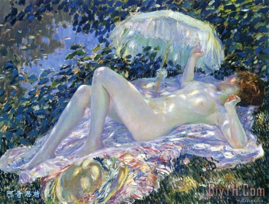 日光浴装饰画 晴天 阳光 晒太阳 c.1913 布面油画 由Frederick卡尔