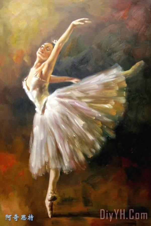 芭蕾舞装饰画_舞蹈_人物_印象_舞者_女子_芭蕾舞油画