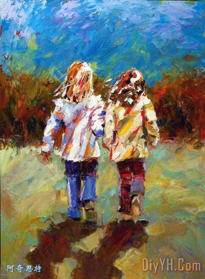 友谊天长地久装饰画 人物 印象 印象派 女孩 儿童 儿时伙伴 图片大全