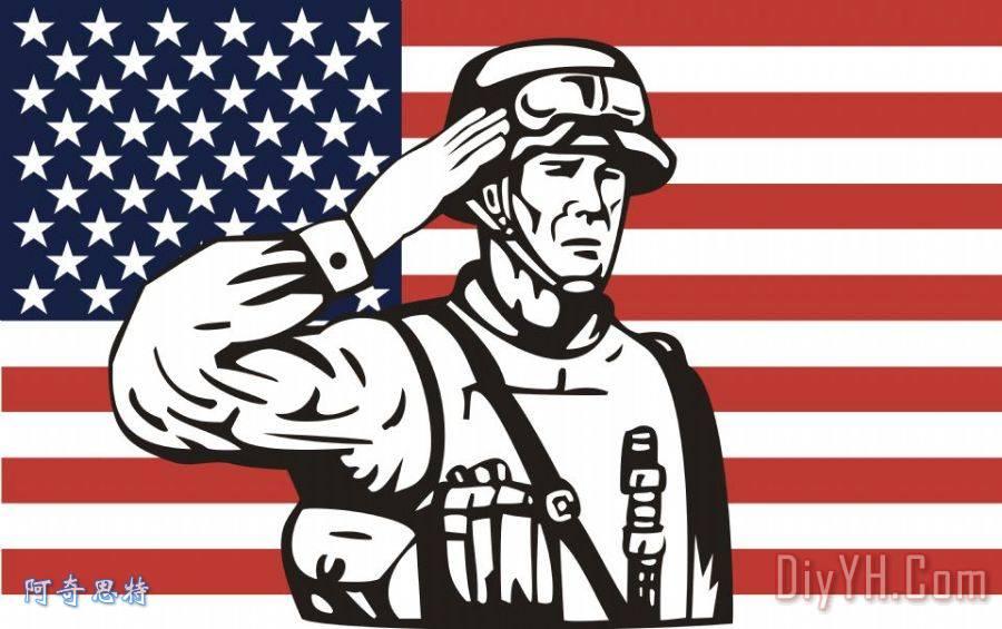 美国士兵国旗敬礼