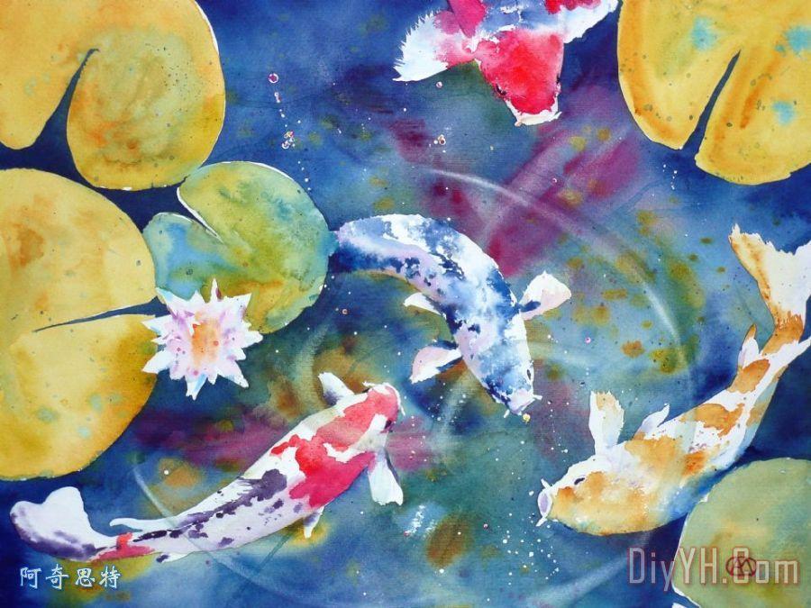 花卉 动物 池塘 水彩画 图片大全 阿奇思特 -锦鲤