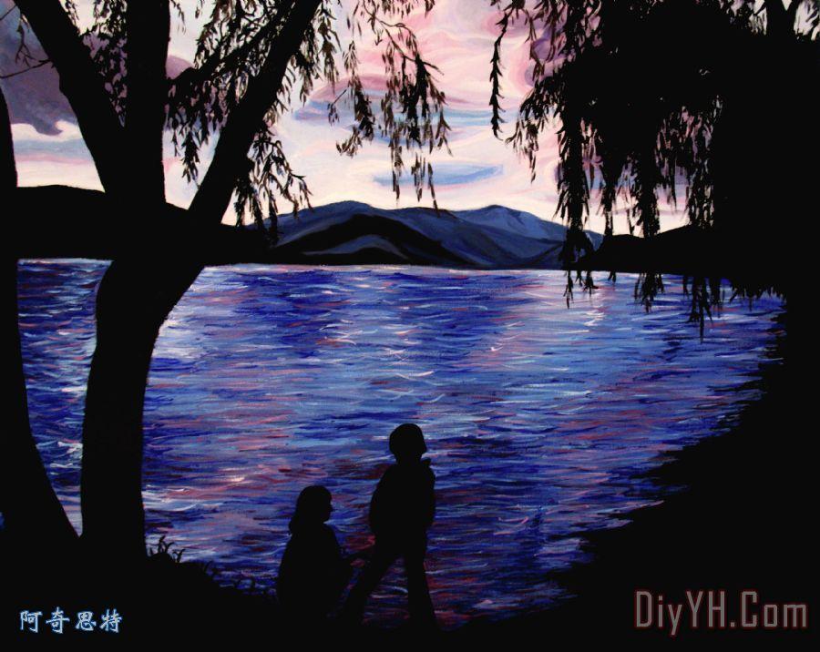 装饰画 风景 晚霞 轮廓 山脉 纵观湖油画定制 阿奇思特