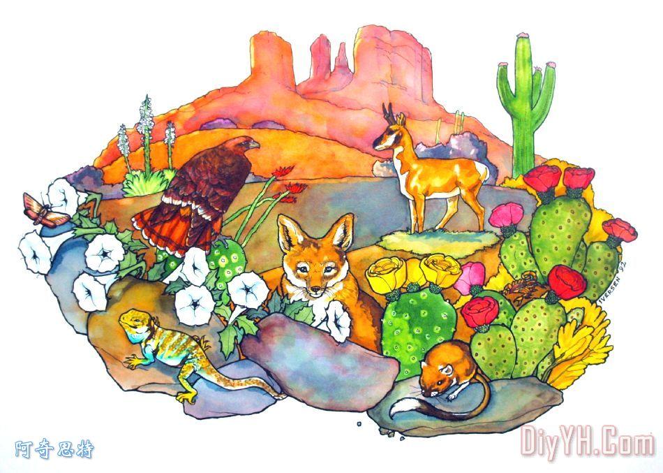 沙漠动物装饰画 风景 仙人掌 羚羊 土狼 图片大全 阿奇思特 -沙漠动物