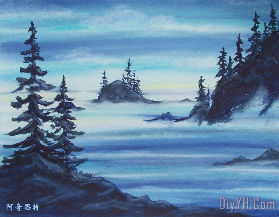 风景 海景 晚霞 海洋 海景画 黄昏的海岸油画定制 阿奇思特