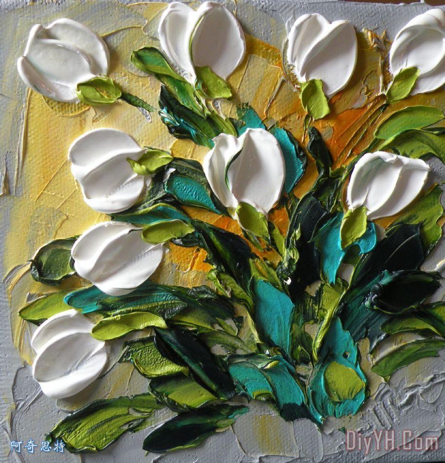 白色郁金香装饰画 风景 花卉 春天 厚涂颜料画法 图片大全 阿奇思特
