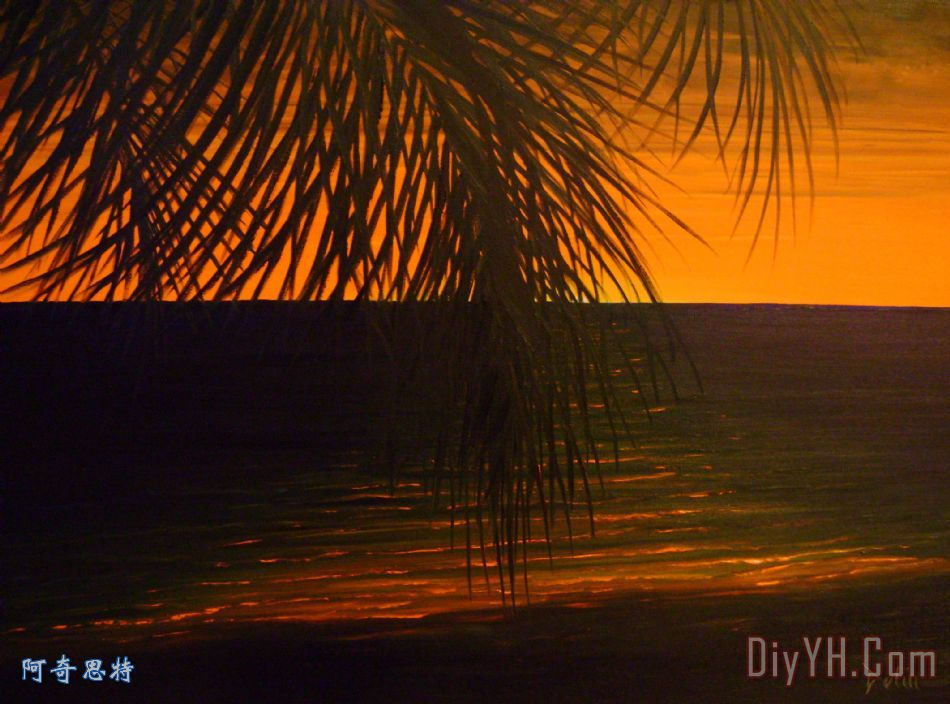 小溪 海滨 晚霞 海洋 夕阳在海滩油画定制 阿奇思特
