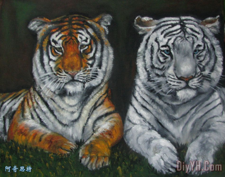 两只老虎油画装饰画_动物_野生动物_两只老虎油画油画