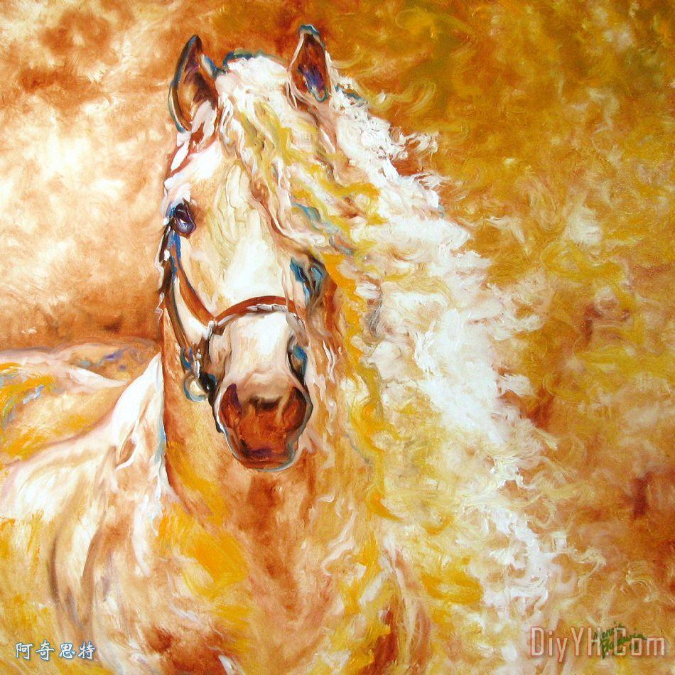 金恩马摘要装饰画 动物 印象 马群 美术 图片大全 阿奇思特