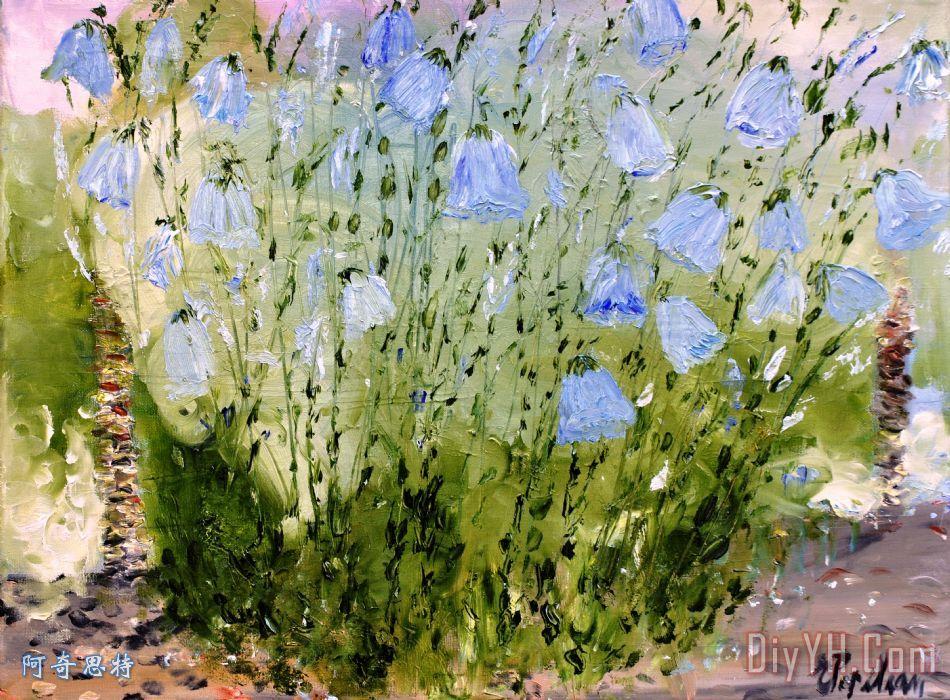 小铃铛装饰画 风景 花卉 印象派 花朵 小铃铛油画定制 阿奇思特