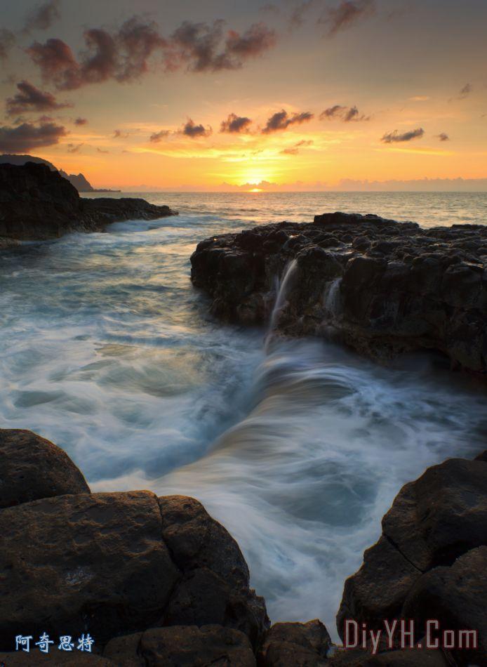 装饰画 风景 晚霞 夏威夷 天堂之池油画定制 阿奇思特