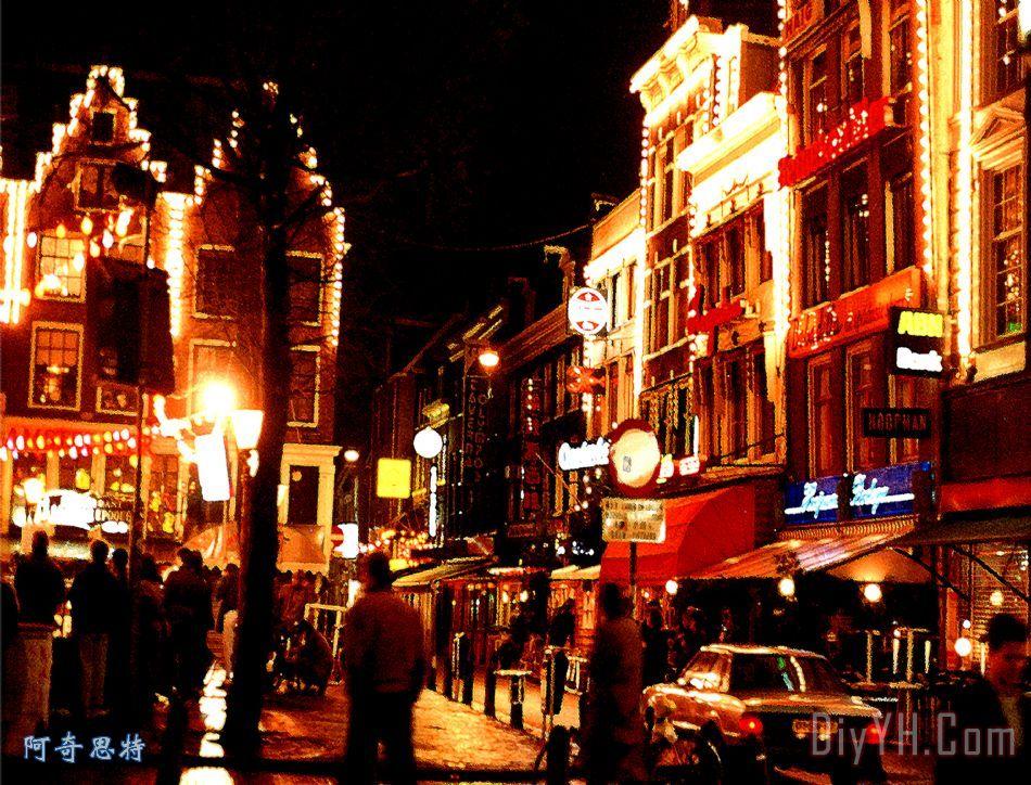 圣诞节在阿姆斯特丹装饰画 风景 夜晚 城市 街道 光 图片